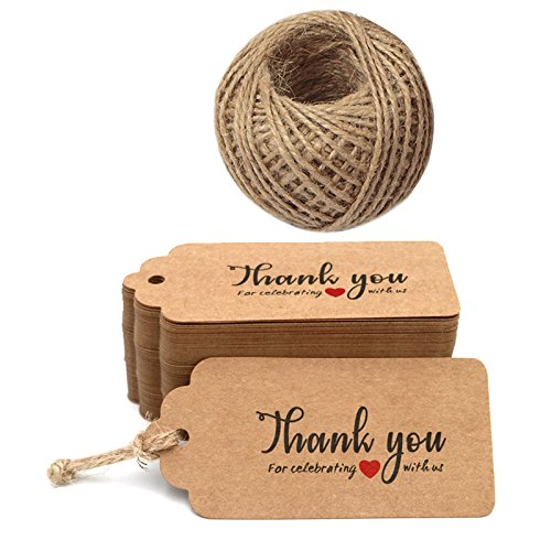 Thank You for Celebrating with US,Original Design Kraft Paper Tags,100PCS Brown Tags Perfect for Baby Shower, Wedding and Party Favor ()
