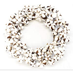 "Silvercloud Trading Co. Real Cotton Wreath 18""-28"" - Adjustable Stems - Farmhouse Decor - Wedding Centerpiece White 45"