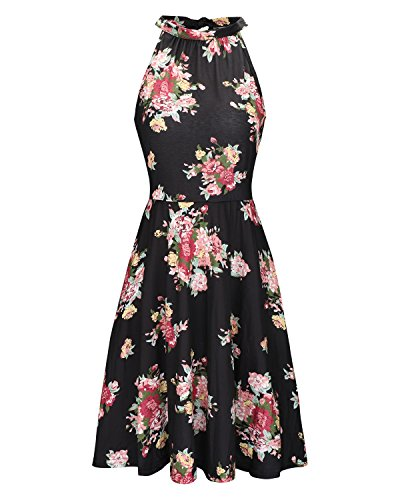 OUGES Women's Halter Neck Floral Summer Casual Sundress(Floral-02,L)
