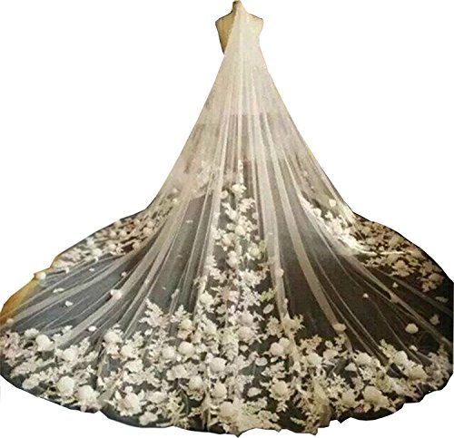 Fenghuavip White Tulle 1T Brides Veils 3M Cathedral Long 3D Flower Veil with Comb ()