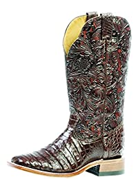 Boulet Western Boots Women Cowboy Exotics Belly Caiman Choc Brown 3510