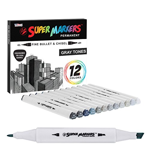 12 Color Super Markers Gray Tones Dual Tip Set - Double-Ended Permanent Art Markers with Fine Bullet and Chisel Point Tips - Ergonomic Tri-Oval Barrels - Draw, Sketch, Shade, Illustrate, Render]()