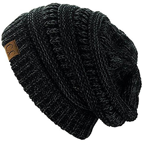 C.C Trendy Warm Chunky Soft Stretch Cable Knit Beanie Skully (2 Tone Black/Charcoal) by C.C