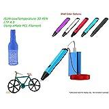 3D Printing Pen, Low Temperature 3D Pen Using eMate Moldable PCL Filament, Safest 3D Pen, Slim Design, Easy 1 Button Operation, LTP 4.0 2017 Gen, Light Blue Shell