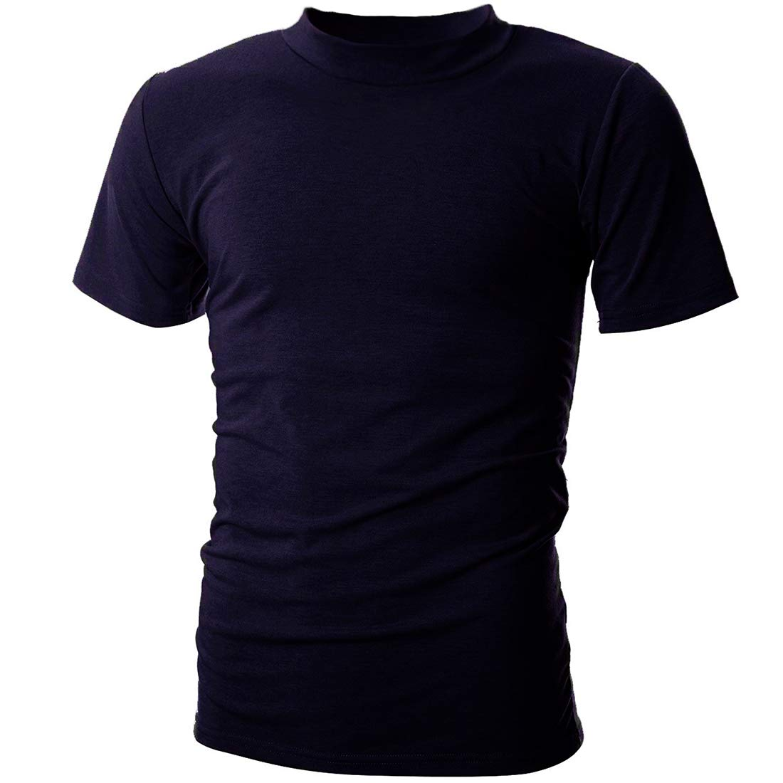 UUANG Men's Solid Basic Jersey High Neck Causal Undershirts Tee (Navy Blue,XL)