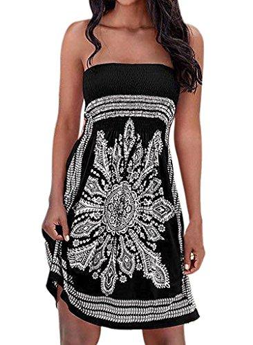 Totem Floral Print Mini Dress (Black) - 2