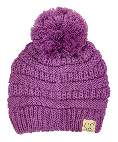 Age Cap (Chunky Thick Stretchy Knit Slouch Pom Pom Beanie Cap Hat for Kids Ages 2-7 (Lavender))