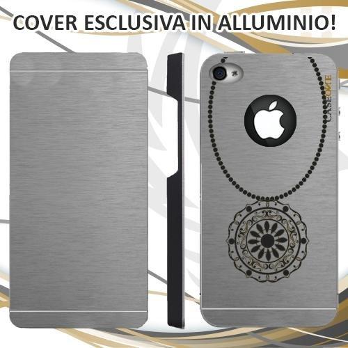 CUSTODIA COVER CASE COLLANA NERA PER IPHONE 4S ALLUMINIO TRASPARENTE