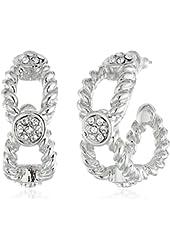 """T Tahari """"Essentials"""" Rope Design Crystal Hoop Earrings"""