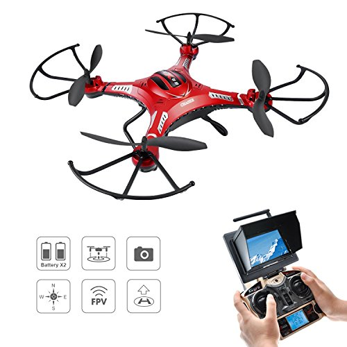Drone with Camera, Potensic Upgraded F183D RTF Drone with New Altitude Hold, Auto Hovering Function , 2MP Camera& 5.8Ghz FPV LCD Screen Monitor(Red) ...