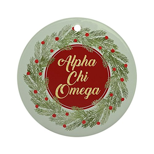 CafePress Alpha Chi Omega Round Holiday Christmas Ornament