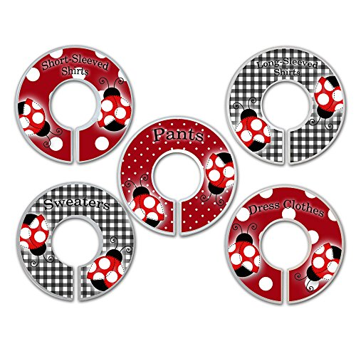 CLOSET DIVIDERS Red Mod Ladybug Black White Gingham CLOTHING LABELS Bedroom and Baby Nursery Art Decor CD00151 (Ladybug Mod)