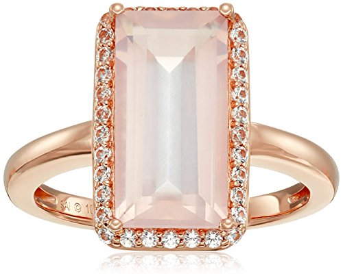10k Pink Gold Rose Quartz and Created White Sapphire Ring...