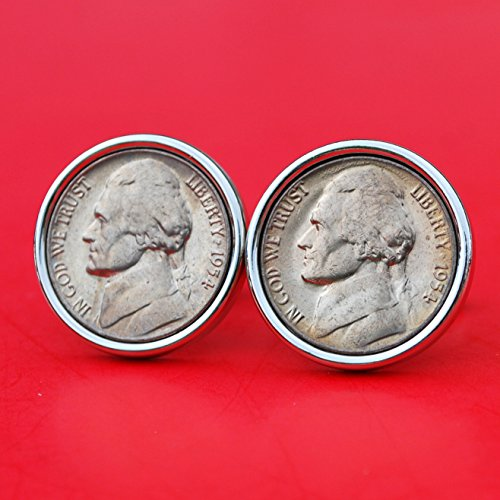 A Pair of US 1954 Jefferson Nickel 5 Cent BU Uncirculated Coin Silver Plated Cufflinks NEW