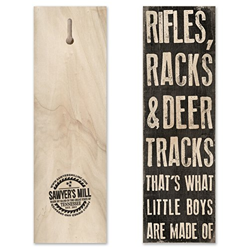 [Rifles, Racks and Deer Tracks. That's What Little Boys Are Made of. - Handmade Wood Block Hunting Sign for Boys Bedroom.] (Hunter Wood Sign)