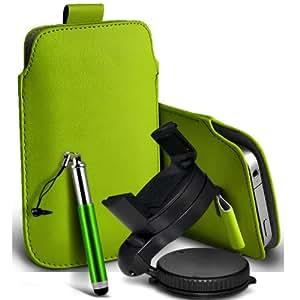 Nokia Lumia 820 premium protección PU ficha de extracción Slip In Pouch Pocket Cordón piel con la aguja retractable de la pluma y de 360 ??Sostenedor giratorio del parabrisas del coche cuna verde por Spyrox