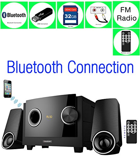 Boytone BT-3129F – Limited Edition Multimedia with Bluetooth Audio Powerful Speakers System, Digital Display FM Radio + USB/SD/AUX, 40 Watts Home Audio for Smartphones,Tablets,Computers,Laptops,TV (8x10' Bass)
