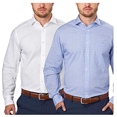 Tommy Hilfiger Men's Regular Fit Spread Collar Long Sleeve Dress Shirt (15-15.5x32/33, Blue White Plaid)