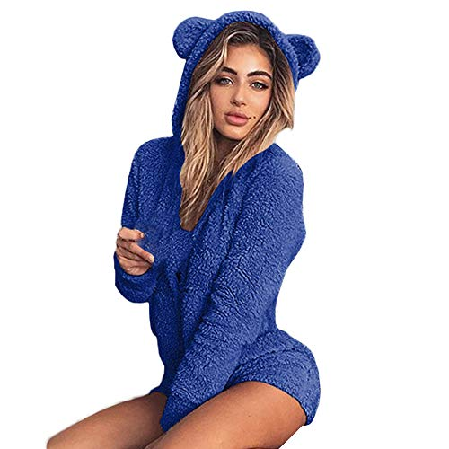 Women Hooded Jumpsuit Vovotrade Cute Ladies Autumn Shorts Rompers Fashion Zipper Playsuit(Blue,S) ()