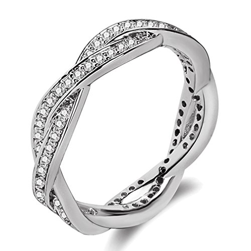 SAINTHERO Women's Infinity Rings 18K White Gold Plated Twist Fate 2 Bands Eternity Promise Rings for Her Cross Shank Bridal Engagement Wedding Halo Ring Size (Twist Of Fate Costume)