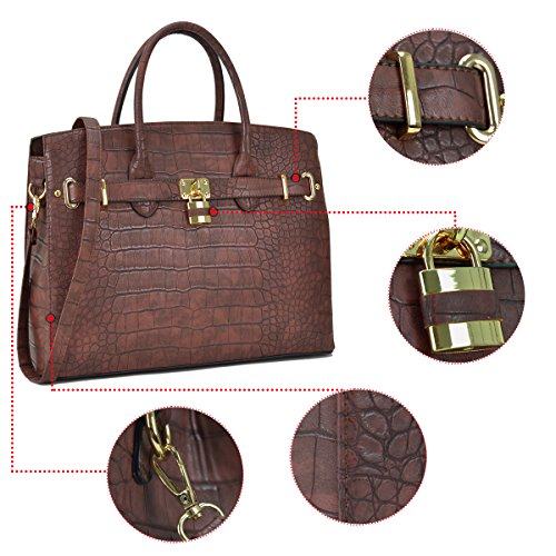 Satchel Leather Dasein Bag Padlock Briefcase Bag Top Purse Handle Faux Designer Stone Laptop Shoulder Women's Tote Handbags Croco xPz7txw