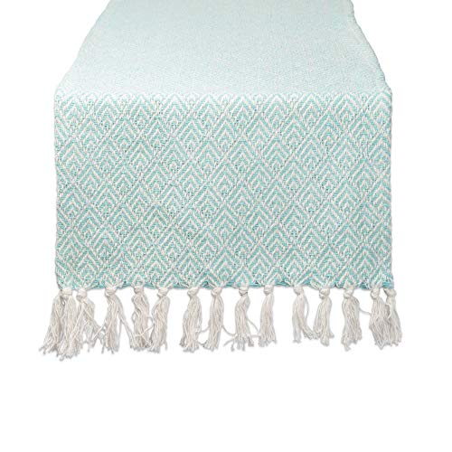 DII CAMZ11279 Braided Cotton Table Runner, Perfect for Spring, Fall Holidays, Parties and Everyday Use 15x72 Aqua ()