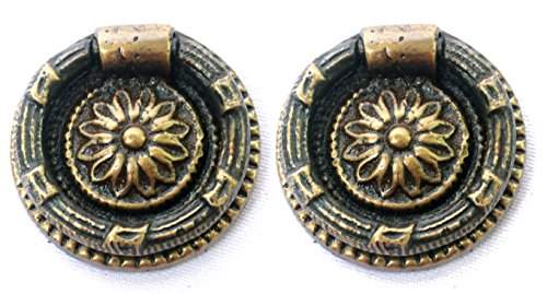 NDC Antique Style Brass Ring Pulls Handles 2 Pack