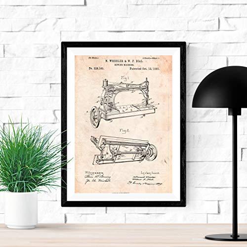 Nacnic Poster de Patente de Maquina de Coser Lamina para enmarcar Poster con disenos, Patentes, Planos de inventos Famosos Tamano (A3)