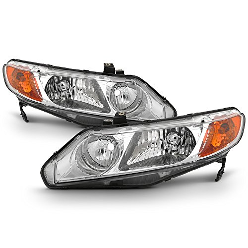 For 2006-11 Honda Civic 4DRs Amber Corner Headlights Assembly Chrome Housing Clear Lens Full Set