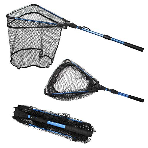 Thekuai Fishing Net Fish Landing Net, Foldable Collapsible Telescopic Pole Handle, Durable Nylon Material Mesh Safe Fish Landing Net Catch Release Strong.