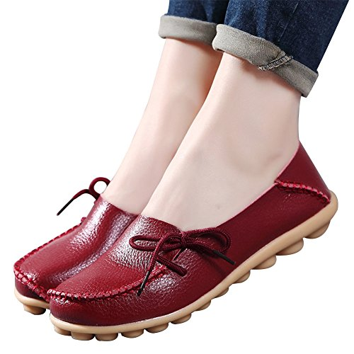 Women's Leather Loafers Shoes Wild Driving Casual Flats Burgundy 11