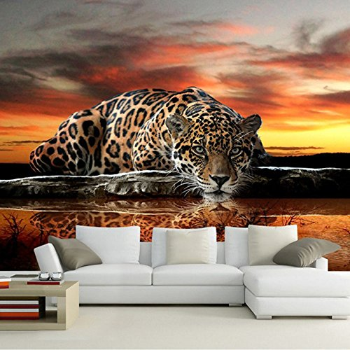 (LWCX Custom Photo Wallpaper Leopard Wall Covering Living Room Sofa Bedroom Tv Backdrop Wall Paper Mural Contact Paper 396X280CM)