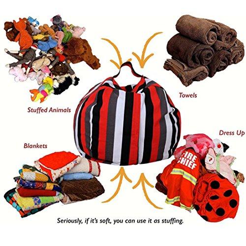 Sinwo Multifunction Kids Stuffed Animal Plush Toy Storage Bean Bag Soft Pouch Stripe Fabric Chair - B And Q Wardrobe