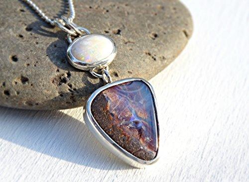 Australian opal pendant silver, real matrix opal necklace silver, white opal necklace boulder opal pendant Coober Pedy Opal Queensland (Queensland Boulder)