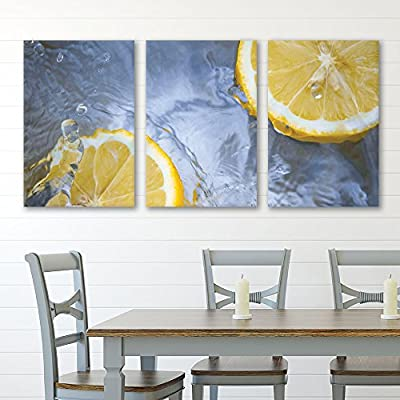 3 Panel Canvas Wall Art - Lemon Slice in Water - Giclee Print Gallery Wrap Modern Home Art Ready to Hang - 16