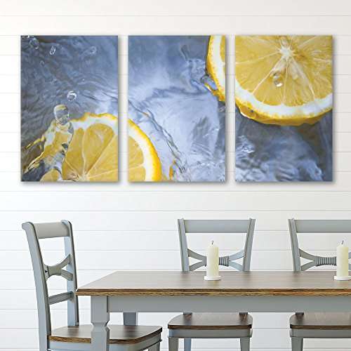 3 Panel Lemon Slice in Water x 3 Panels