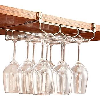 Charmant GeLive Under Cabinet Stemware Rack Holder Adjustable Stainless Steel Wine  Glass Hanger Organizer Bar