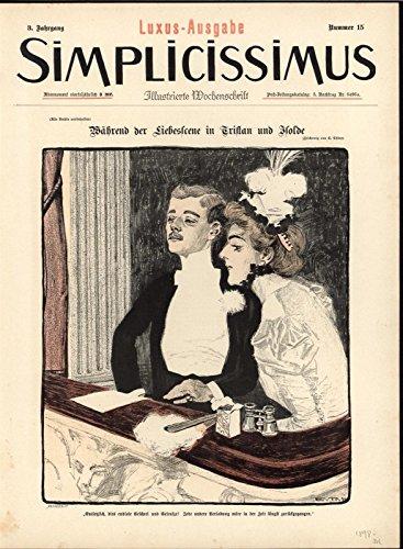 Theatre Box Wealthy Audience Luxurious Fashion 1898 antique Art Nouveau print