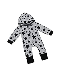 HotMoon Infant Outfit,Newborn Baby Boy Star Zipper Hooded Romper Jumpsuit Clothes