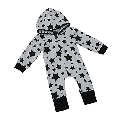 HotMoon Infant Outfit,Newborn Baby Boy Star Zipper Hooded Romper Jumpsuit Clothes (Star Outfit)