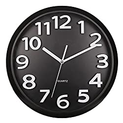 Harryup Large Number Wall Clock,12 Silent Non-Ticking Quartz Decorative Wall Clock, Kids Wall Clock - Modern Style Good Living Room/Home/Office Battery Operated (Black)