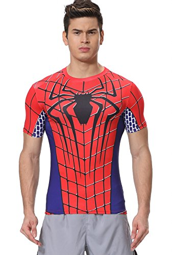 Spider Short Sleeve Tees - Red Plume Men's Film Super-Hero Series Compression Sports Shirt Skin Running Short Sleeve Tee (M, Spider B)