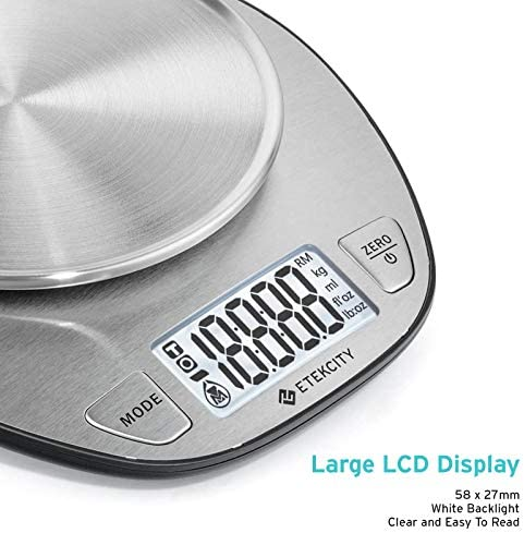 Etekcity 11lb/5kg Stainless Steel Digital Kitchen Food Scales, with Liquid Volume Measurement Function, Auto Zero/Tare and Large Backlight LCD Display, Silver