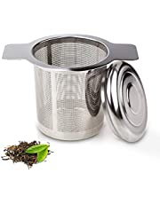 GOOOA Extra Fine FDA Approved 18/8 Stainless Steel Tea Infuser Mesh Strainer with Large Capacity & Perfect Size Double Handles for Hanging on Teapots, Mugs, Cups to steep Loose Leaf