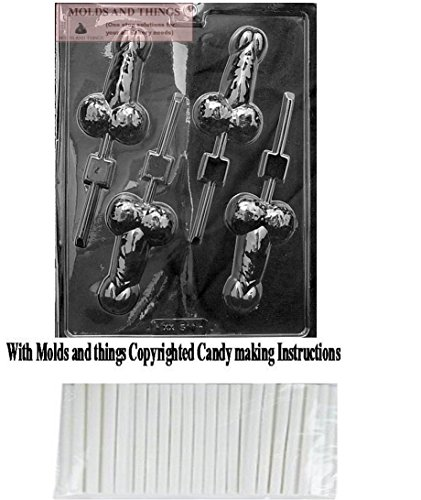 MOLDS AND THINGS Medium Pecker POP Adult Chocolate Candy Mold with Copyrighted Molding Instructions + 25 Sticks