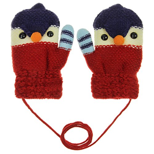 Little Kids Cute Cartoon Animal Winter Warm Wool Knit Gloves with String, Thick Polar Fleece Lined Mittens Windproof Coldproof Hand Warmer Xmas Gift for Toddler Girls Boys 3-6Yrs (Hot Red Chick)