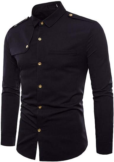 Aiserkly Camisa de Manga Larga con Cuello de botón, Estilo Militar, Informal, para Todas Las Estaciones, para Hombre Negro Negro (XL: Amazon.es: Ropa y accesorios