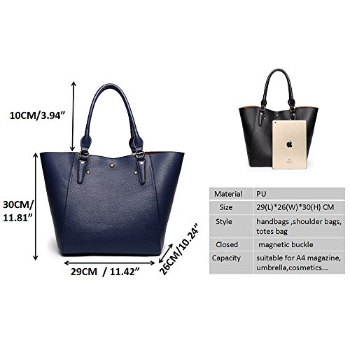 Synthetic Leather Shoulder B Tibes Deep Bag Handbag Waterproof Blue Tote Women Girls Fashion Large Purse wxEwqXI