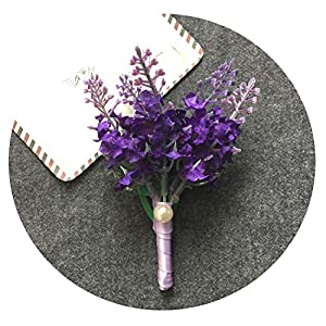 HuaHua-Store 5Pcs/Lot Wedding Groom Boutonniere Groomsman Corsage Artificial Lavender Flower Man Brooch Corages Buttonhole Suit 21
