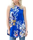 tank top design - Wancy Womens Sleeveless Floral Summer Casual Flowy Loose Tunic Tank Blouse Tops Blue XX-Large